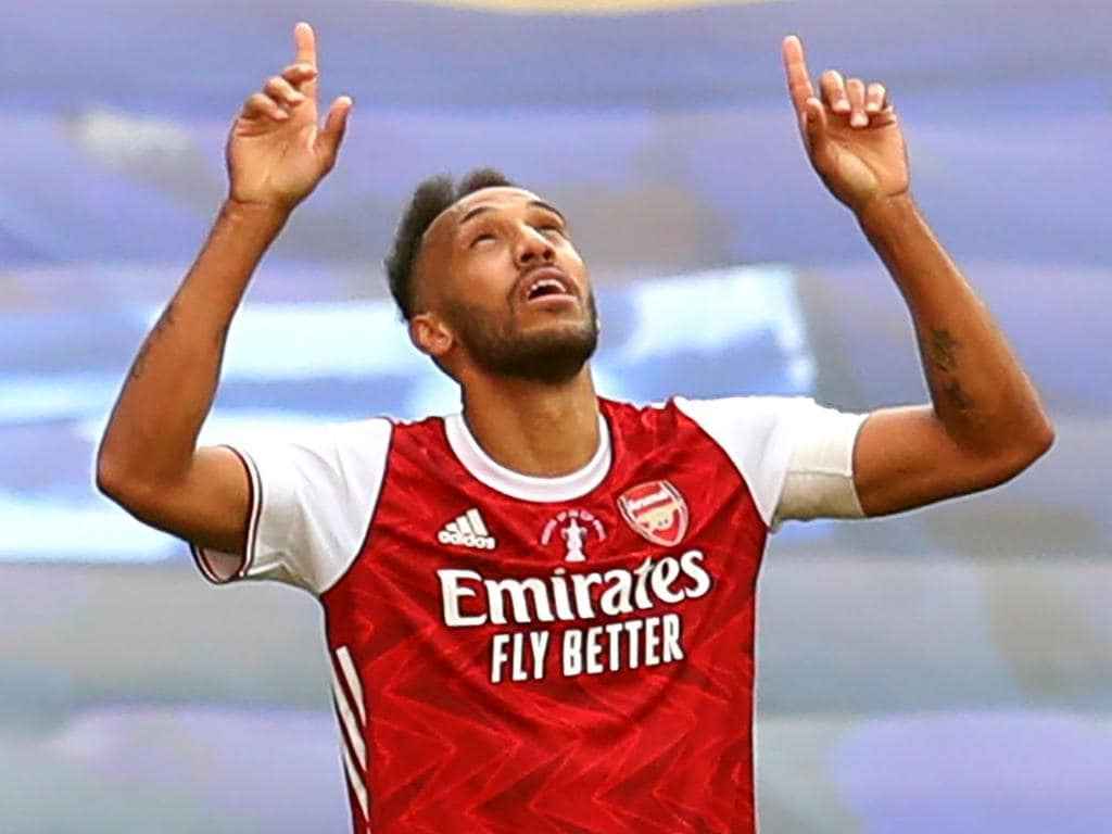 Arsenal's Gabonese striker Pierre-Emerick Aubameyang celebrates scoring his team's second goal during the English FA Cup final football match between Arsenal and Chelsea at Wembley Stadium in London, on August 1, 2020. (Photo by Catherine Ivill / POOL / AFP) / NOT FOR MARKETING OR ADVERTISING USE / RESTRICTED TO EDITORIAL USE