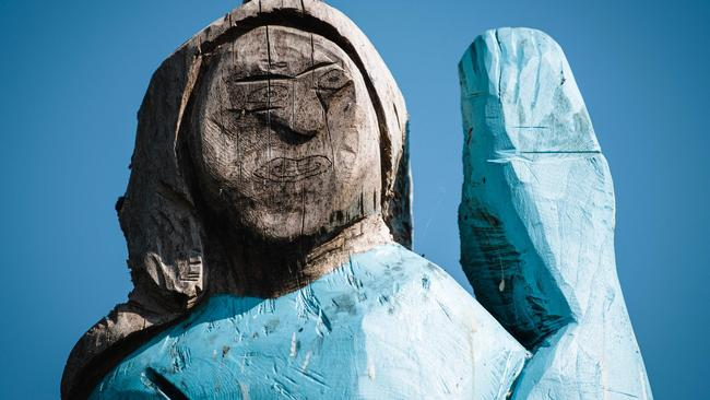 Melania's monument — which was reportedly made using a chainsaw — has much less facial detail compared to her husband. Picture: Jure Makovec/AFP