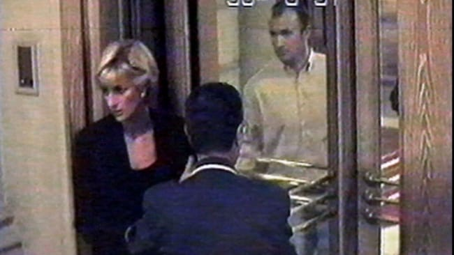 Hotel Ritz security video, shows Diana, Princess of Wales, arriving at the Paris Hotel 30 Aug 1997. Hours later Princess Diana and Dodi al Fayed were killed in a car crash in /Paris 31/8/97