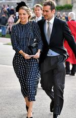 Emily Wansbrough and guest arrive ahead of the wedding of Princess Eugenie of York and Mr. Jack Brooksbank at St. George's Chapel on October 12, 2018 in Windsor, England. (Photo by Matt Crossick - WPA Pool/Getty Images)