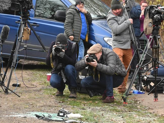 Media at the scene where Prince Philip was involved in a car accident. Picture: AP