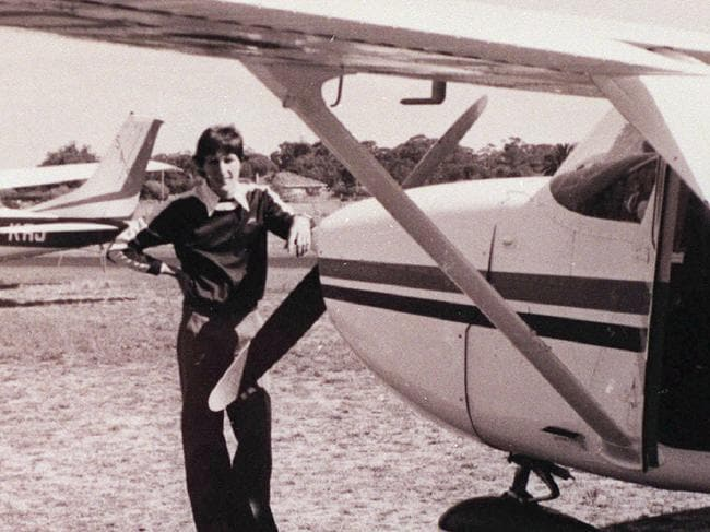 Frederick Valentich standing next to a plane similar to the one he disappeared in 40 years ago.