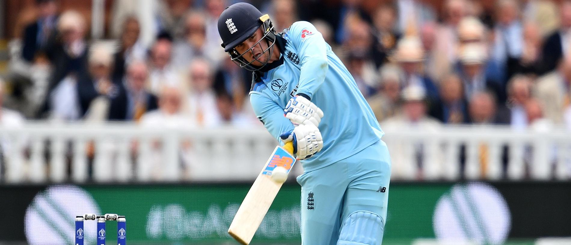 England's Jason Roy plays a shot during the 2019 Cricket World Cup final between England and New Zealand at Lord's Cricket Ground in London on July 14, 2019. (Photo by Glyn KIRK / AFP) / RESTRICTED TO EDITORIAL USE