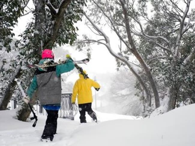 The morning commute is a real burden at Mt Buller in Victoria. Picture: Mt Buller Facebook