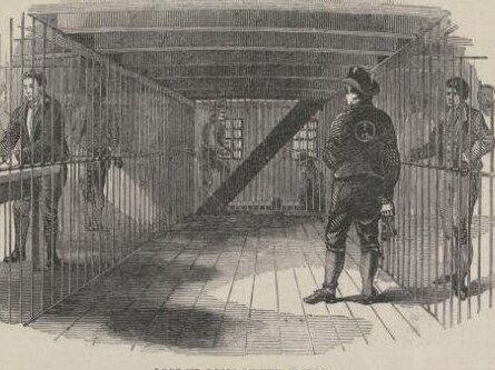 Illustration of a lockup room on a convict hulk.