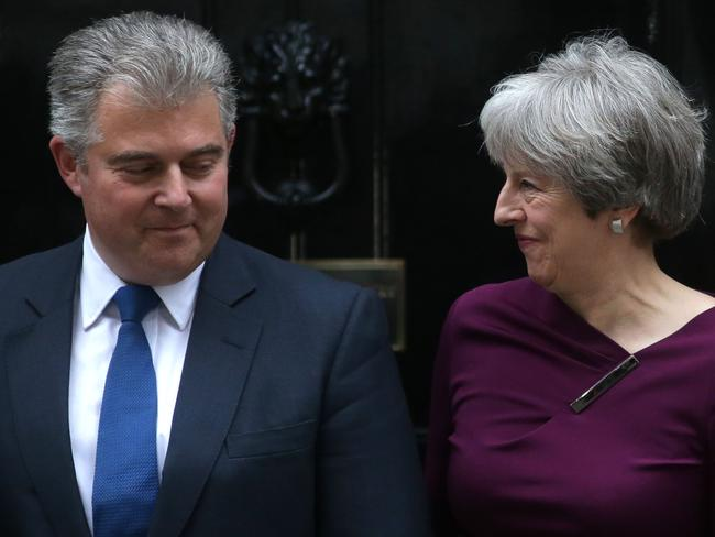 Theresa May with the correct new chairman of the Conservative Party, Brandon Lewis. Picture: AFP