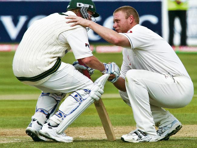 Andrew Flintoff consoles Brett Lee after the famous Edgbaston Test. Picture: Getty