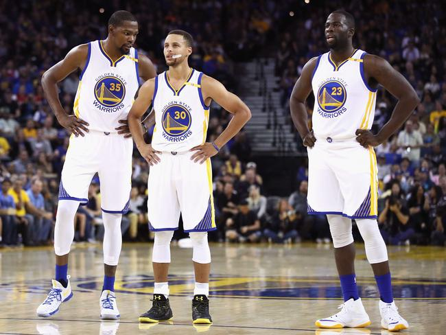 Kevin Durant, Stephen Curry and Draymond Green. Firepower.