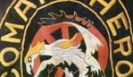 Web grab of colours or emblem of Comanchero bikie (motorcycle) gang, worn on the back of their jackets. patch logo