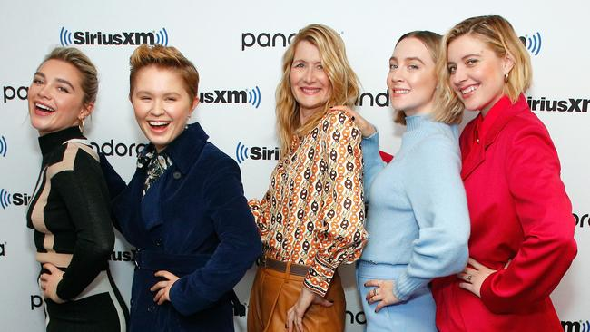 Greta Gerwig with her Little Women cast. Picture: Astrid Stawiarz/Getty Images for SiriusXM.