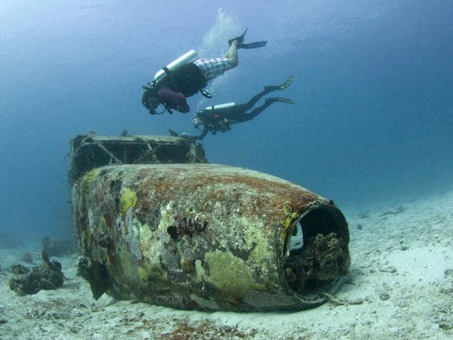 A plane wreck in the British Virgin Islands.