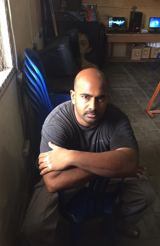 Condemned ... Myuran Sukumaran pictured in the workshop in Kerobokan, where he runs art workshops and rehabilitation programs.