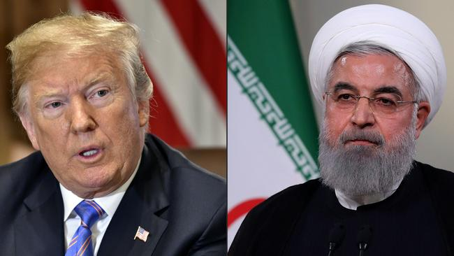 The White House said President Donald Trump may still meet his Iranian counterpart Hassan Rouhani, despite the US accusing Iran of masterminding drone attacks on Saudi Arabian oil facilities. Picture: Nicholas Kamm and HO/AFP