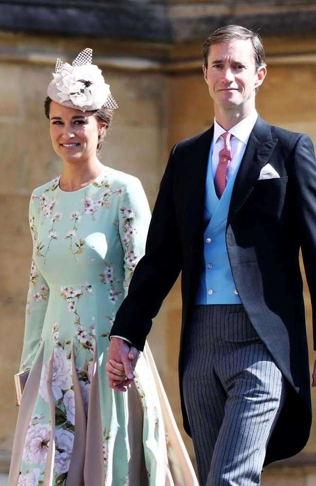 Pippa showed the first glimpse of her baby bump while attending Prince Harry and Meghan Markle's wedding in May with husband James Matthews