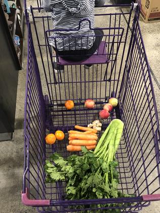 Supermarket shopping without using plastic bags.