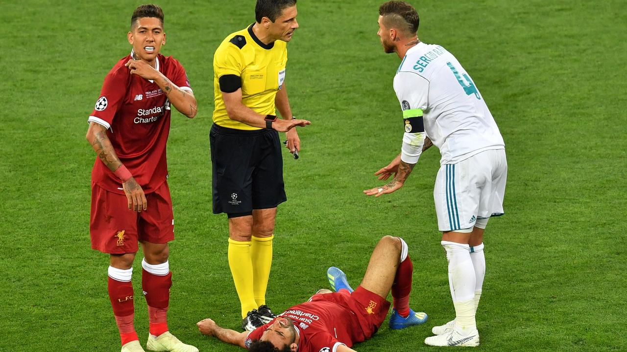 Real Madrid's Sergio Ramos (right) is unapologetic for his brutal play in the Champions League final, but Roberto Firmino (left) has labelled the Spanish defender 'an idiot'.