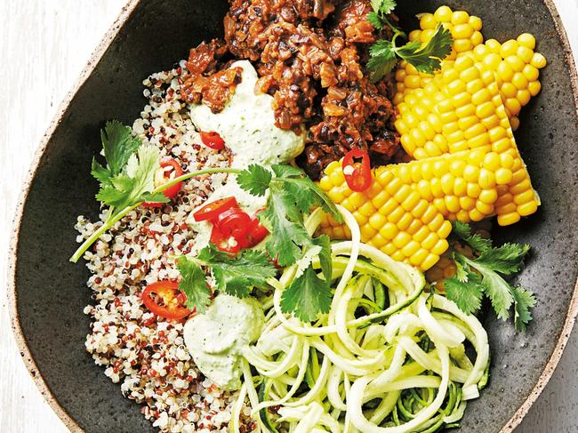 Black bean Buddha bowl with creamy cashew dressing MUST RUN WITH RECIPE OR TASTE.COM.AU POINTER