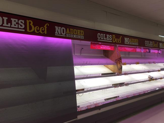 Frustrated shoppers were left empty handed when trying to purchase meat at this Coles in Sydney. Picture: Shoba Rao
