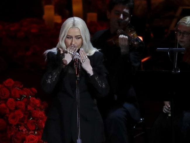 Christina Aguilera performs during the celebration of life. Picture: AP