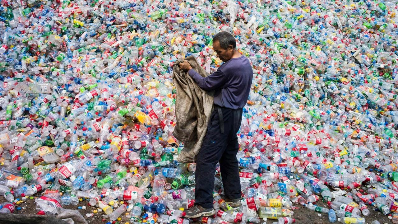 More than eight million tons of plastic, including plastic water bottles, are dumped into the world's oceans every year. Picture: AFP