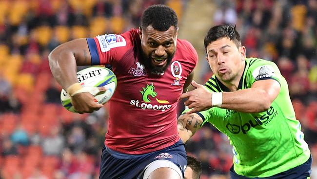 Queensland's Samu Kerevi on the charge on Saturday night.