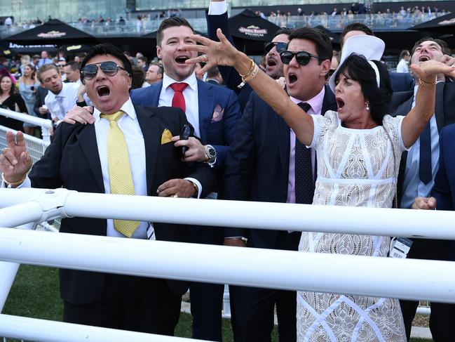 Bert Vieira (left) and wife Gai at Royal Randwick when their horse Trapeze Artist won in April. Picture: David Moir.