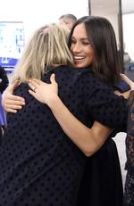 Meghan Markle hugs journalist Bryony Gordon as she meets panelists and beneficiaries during the first annual Royal Foundation Forum held at Aviva on February 28, 2018 in London, England. Picture: Chris Jackson/Getty Images
