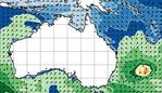 Wave height map for Australis shows 4m plus waves possible across much of teh east coast.