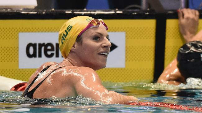 Emily Seebohm celebrates winning silver. Picture: AAP