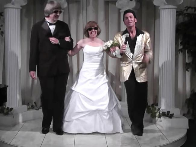 David and Louise Turpin in a still from a 2011 video celebrating a renewal of their wedding vows with Elvis impersonator Kent Ripley in Las Vegas. Picture: A Elvis Chapel via AP