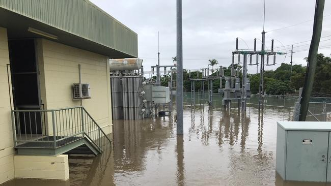 Flooding at the Hermit Park Substation. Picture: Ergon Energy/ Supplied