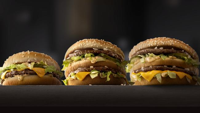 The choice is yours (from left to right) McDonald's Mac Jr., Big Mac and Grand Mac. Picture: McDonald's.