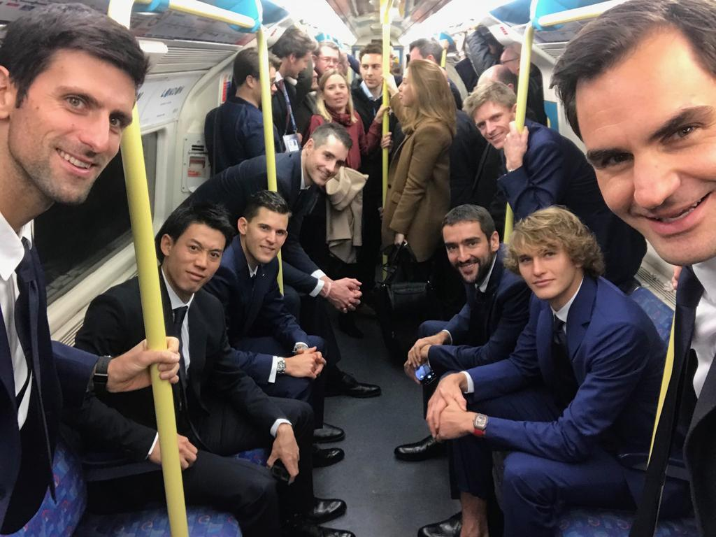 Roger Federer, Novak Djokovic and a bunch of other ATP stars ride the train.