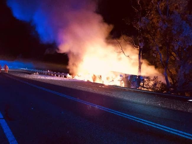 The scene of the firey crash that killed Dr Narde on Monday night.