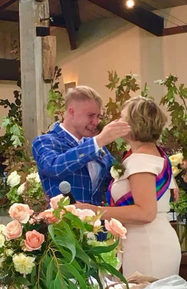 Devout Christian Vanessa Hall posted this emotional image on Facebook, after explaining to friends and family why she walked him down the isle.