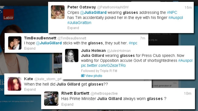 Twitter reaction to Gillard's glasses. Picture: Twitter