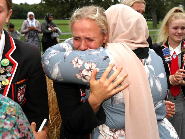 High school students from Christchurch Girls and Boys High Schools meet the families of victims. Picture: Gary Ramage