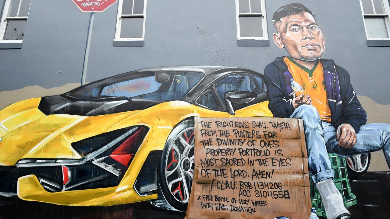 A mural featuring former Wallabies player Israel Folau in Newtown.