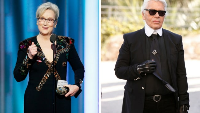 Meryl Streep and Karl Lagerfeld. Photo: Getty