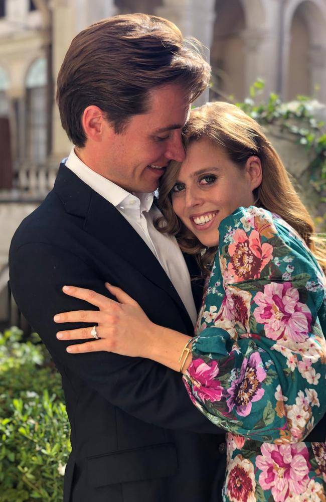 Princess Beatrice is engaged to marry property developer Edoardo Mapelli Mozzi, Buckingham Palace announced in a statement on Thursday. Picture: Princess Eugenie/Buckingham Palace/AFP