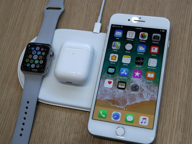 The iPhone 8 and Apple Watch Series 3 are displayed on the AirPower charging pad last year. Picture: Justin Sullivan