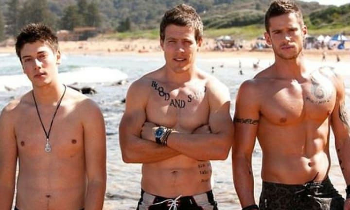 <b>THE RIVER BOYS ARRIVE</b>: The new bad boys on the block shook up the town of Summer Bay in 2011. Darryl 'Brax' (Steve Peacocke), Heath (Dan Ewing) and Casey Braxton (Lincoln Younes) were introduced as the surfing tribe brothers from Mangrove River. During their time on the show, their criminal behaviour and gang-war storylines were a big hit with viewers. Source: Seven