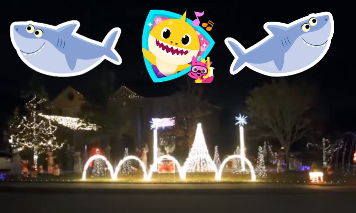 Family rig their Christmas lights to flash to the Baby Shark song