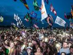 The crowd enjoys the atmosphere as Ed Sheeran headlines on the Pyramid Stage during day 4 of the Glastonbury Festival 2017 at Worthy Farm, Pilton on June 25, 2017 in Glastonbury, England. Picture: Ian Gavan/Getty Images