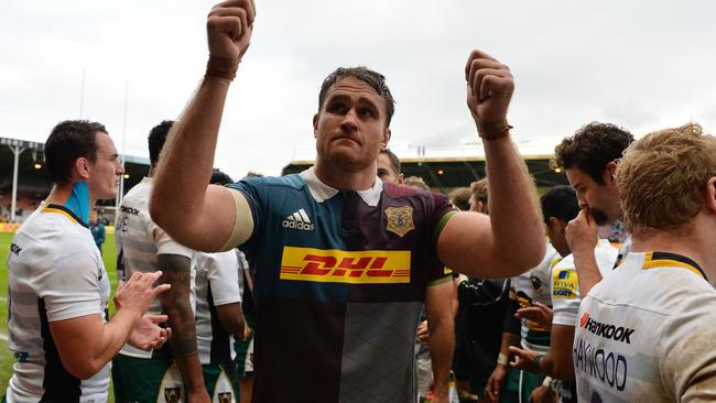 James Horwill gives the fans the thumbs up following Harlequins' win over Northampton at Twickenham Stoop.
