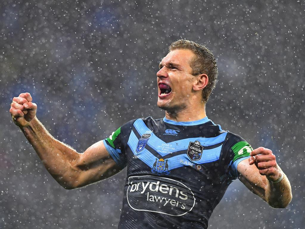 Tom Trbojevic of the Blues celebrates scoring a try during Game 2 of the 2019 State of Origin series between the Queensland Maroons and the New South Wales Blues at Optus Stadium in Perth, Sunday, June 23, 2019. (AAP Image/Darren England) NO ARCHIVING, EDITORIAL USE ONLY