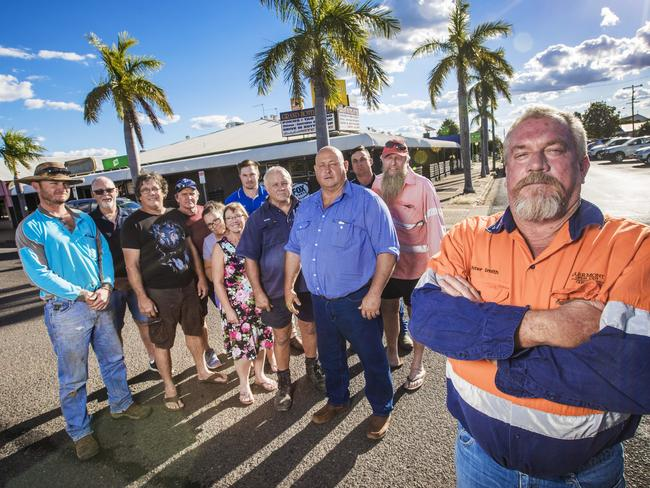 Clermont workers and residents are unhappy about anti adani protestors coming to town. Clermont's Peter Smith (front) with Kel Appleton pictured behind him in blue shirt. Picture: Nigel Hallett
