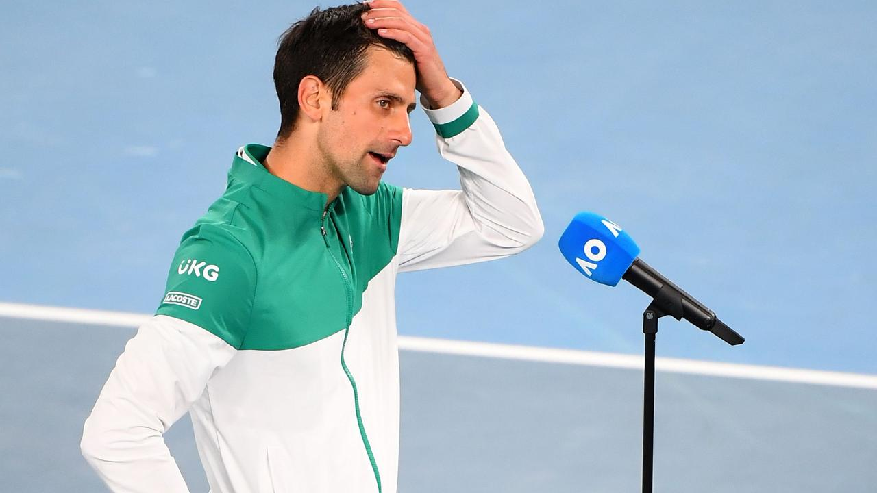 The question about isolation frustrations caught Novak Djokovic off-guard. (Photo by William WEST / AFP)