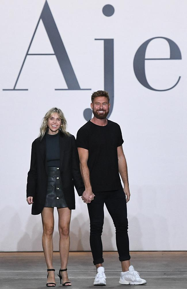 Design duo Edwina Forest and Adrian Norris, of Aje, at the brand's Mercedes-Benz Fashion Week Australia runway show this month. Picture: Getty Images