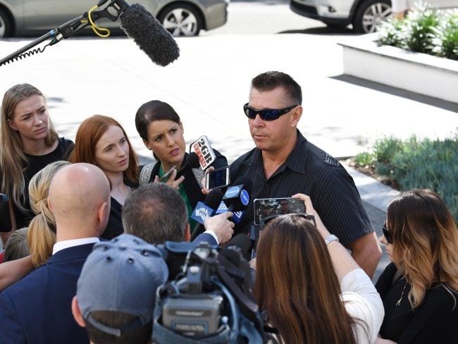 Stephen Grimmer, brother of Cheryl, speaks to the press after the first court appearance of the man charged with his sister's murder. Photo: News Corp